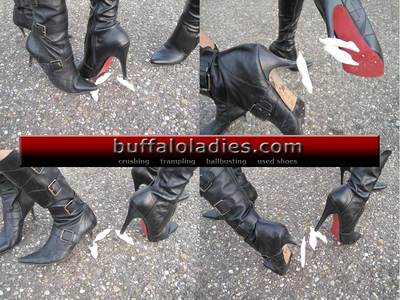 Sweets crushed under high heel boots
