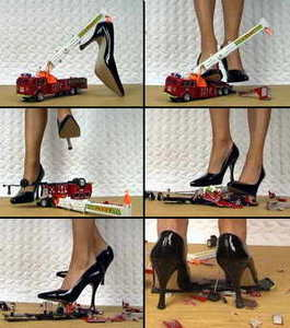 Sexy mistress in heels stomps toy