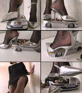 Silver car crushed under silver high heels